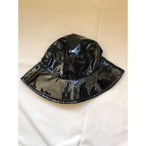 Black vinyl bucket hat